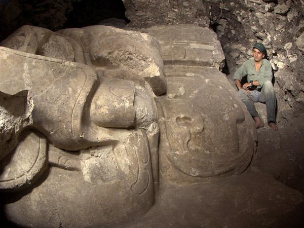 Rain God monumental relief from Guatemala. Maya culture, Dos Agadas, Guatemala. Photo by Francisco Estrada-Belli, NGS.