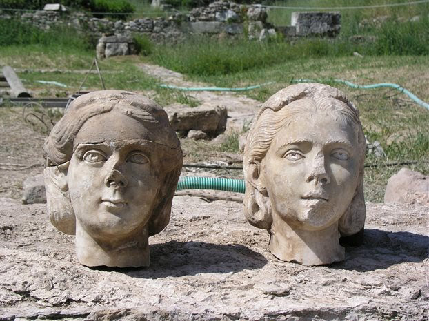 Two Roman heads found at Kerameikos, Athens. 3rd cent. AD.