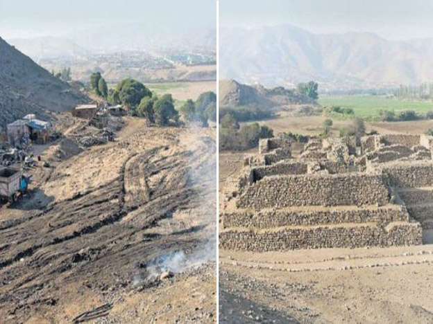 The site where the puramid was located before and after the monument's destruction.