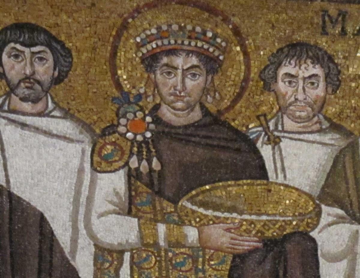 Emperor Justinian with Entourage (detail), 526-547 CE Mosaics, San Vitale, Ravenna.