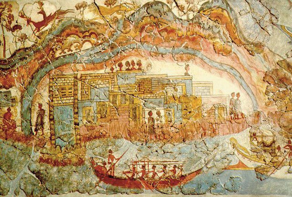 The flotilla frieze (detail), West House, Akrotiri, Thera. c. 1627-1600 BC.