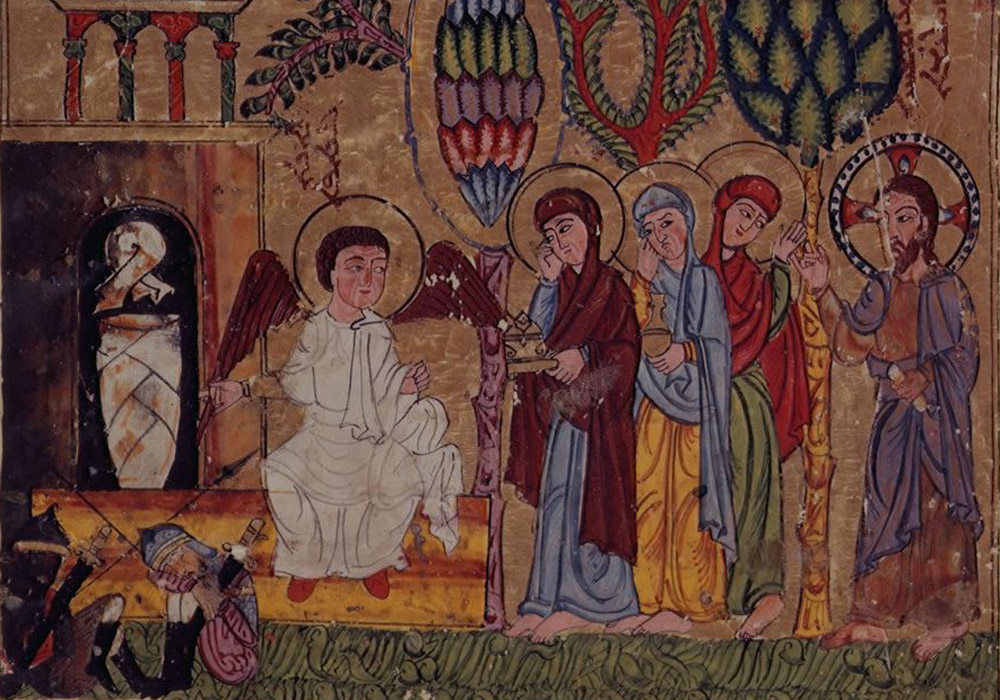Syriac Gospel Lectionary, Northern Iraq, 1216–20. Holy Women at the Tomb. British Library.
