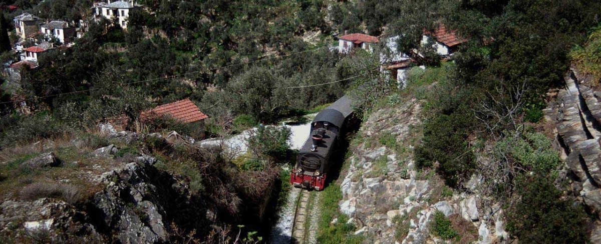 "The historical ""little train of Pelion"" used to run between Volos and Milies, on the tracks designed by the railway engineer Evaristo de Chirico."