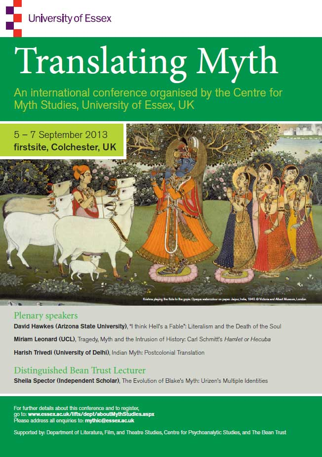 The Translating Myth conference poster.