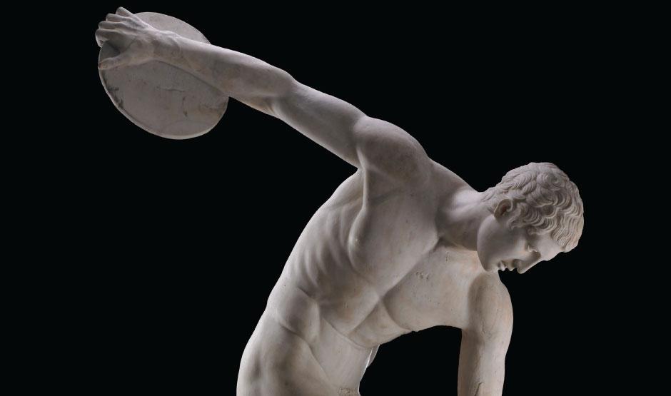 Discus-thrower (discobolus), Roman copy of a bronze original of the 5th century BC From Hadrian's Villa in Tivoli, Lazio, Italy. © British Museum.