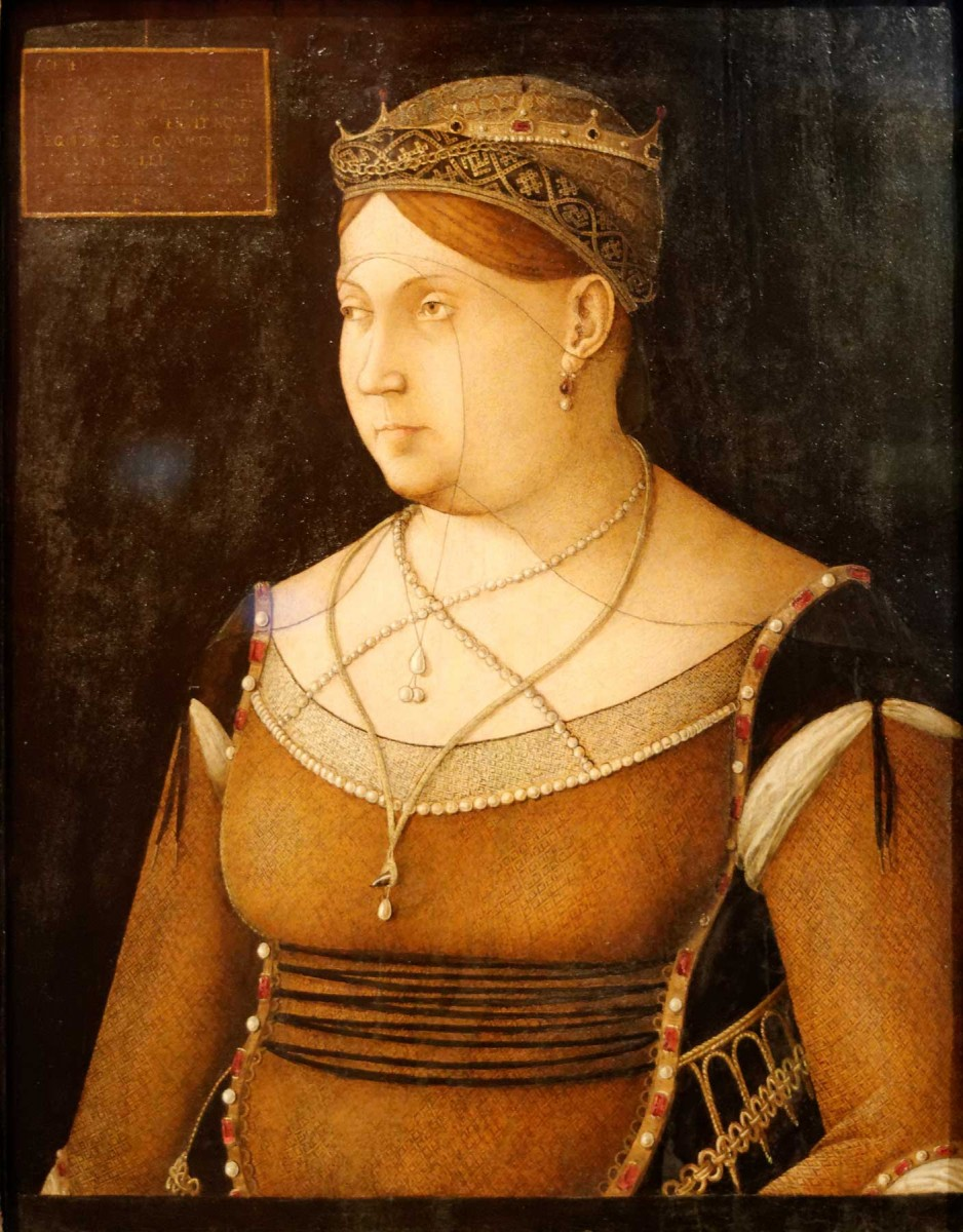 Caterina Cornaro, Queen of Cyprus, one of the most famous Renaissance-Early Oil Paintings painted by Italian painter Gentile Bellini.