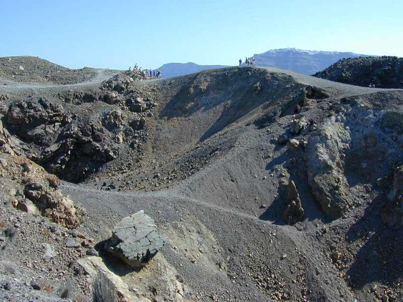 The volcanic crater on Nea Kameni in Santorini, Greece.