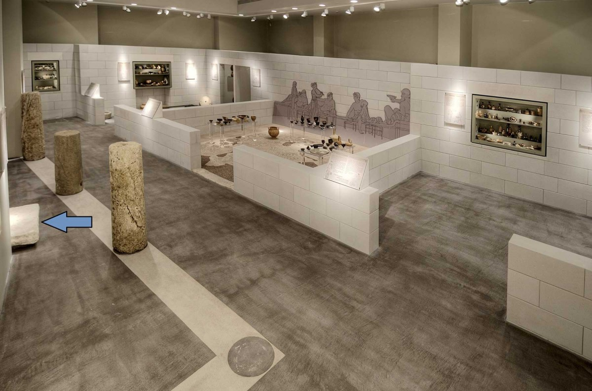 The limestone with the game is exhibited in the room C of the Archaeological Museum of Arta. (Photo credit: Archaeological Museum of Arta)