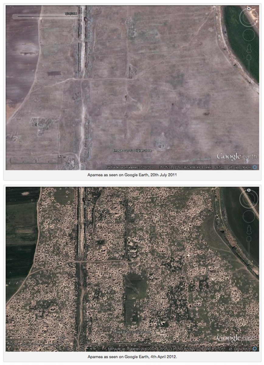 Photo posted by Ignacio Arce (Director of the Spanish Archaeological Mission to Jordan) showing Google Earth photos of Apamea. Source: Trafficking Culture.