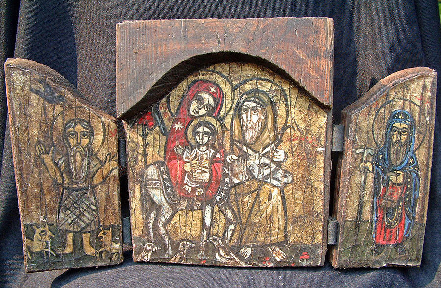 The Flee to Egypt depicted in a rare, tripartite Coptic icon.