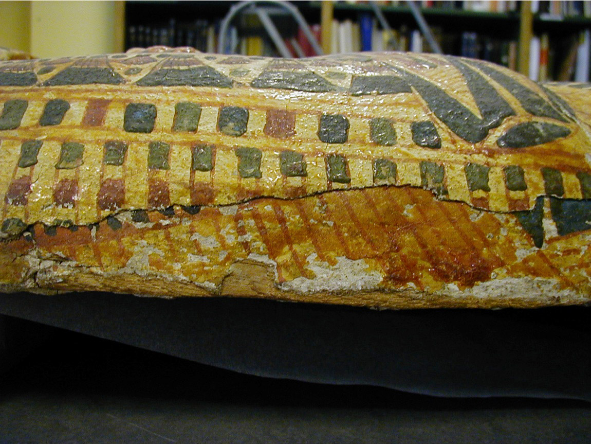 Coffin of Muthotep from the British Museum showing older 19th Dynasty decoration underneath the current 20th Dynasty surface.