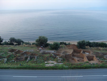 Aerial view of the excavation along the coast.