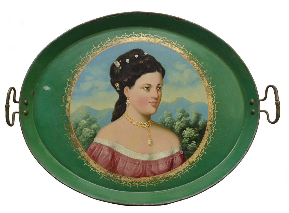 Tray depicting Empress Elisabeth of Austria. Based on a portrait painted by F.X. Winterhalter (1805-1873). After 1865. Lesueur Collection.