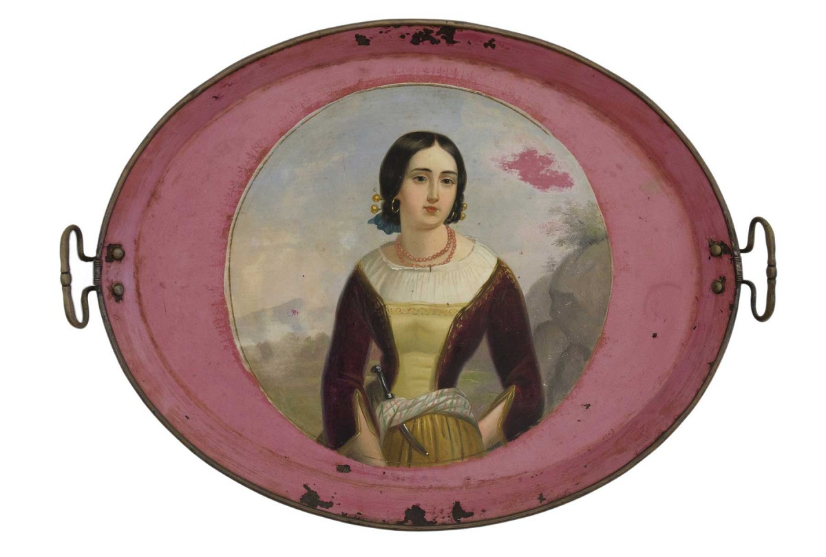 Tray depicting Anita Garibaldi (?). For the Greek and Ottoman market (?). Private collection.