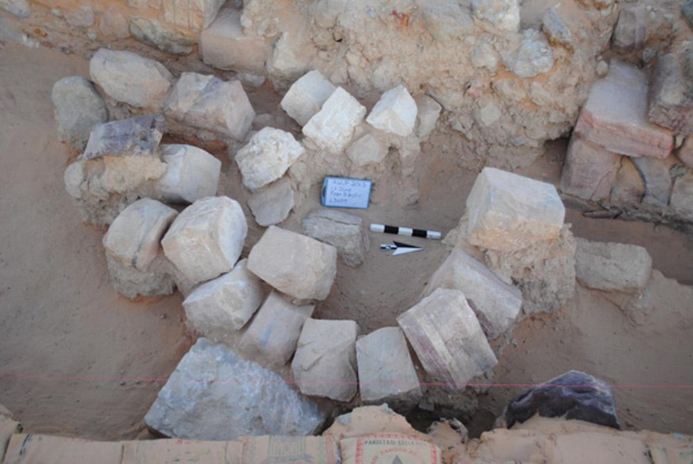 Fragmants consisting an inscription found at Ayn Gharandal, Jordan.