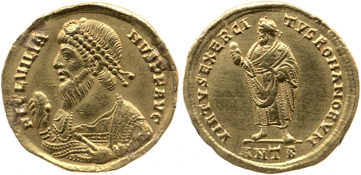 Julian the Apostate represented on a coin  (two sides). Photo by Portable Antiquities Scheme