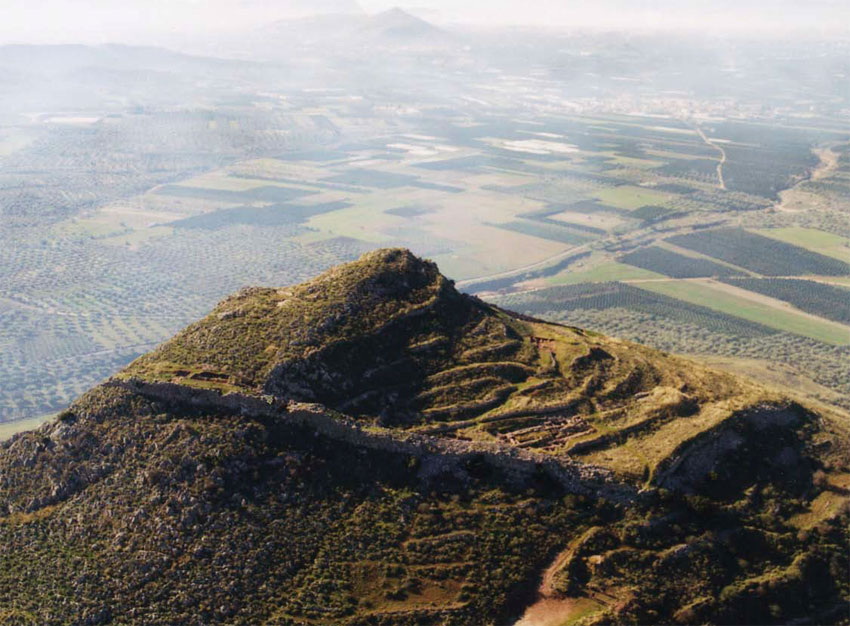 The Acropolis of Midea was founded on a hill 268 m. high that dominates the northeastern recess of the Argive plain.