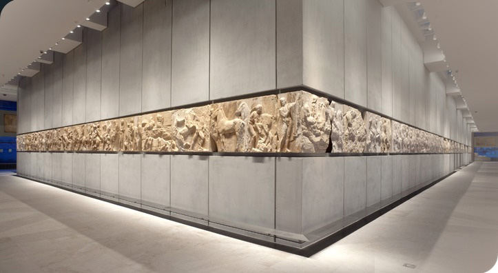View of the west and south frieze of the Parthenon. The Acropolis Museum.