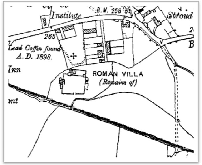 General plan of the site at Stroud, including the Roman villa remains.