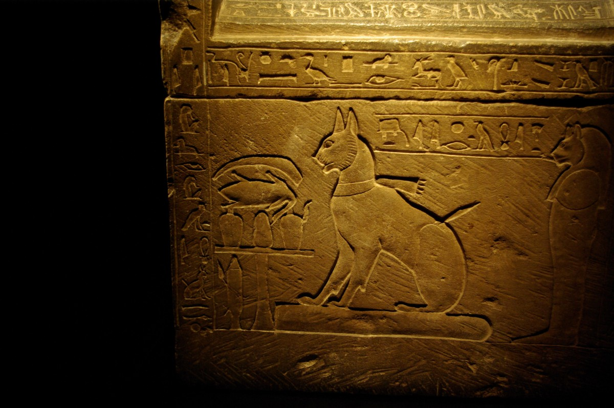 Sarcophagus for a cat commissioned by Prince Thutmose, son of Amenhotep III. Mit Rahina, Egypt, New Kingdom (around 1375 BC).
