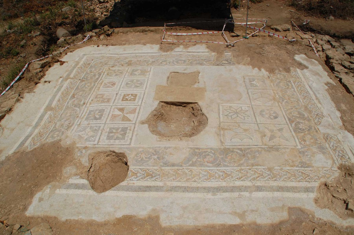 A mosaic in southern Turkey is believed to have been the floor of a Roman temple. (Michael Hoff, UNL)