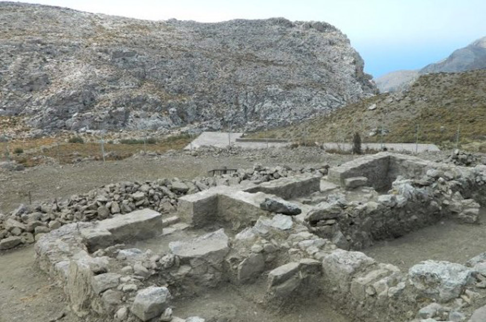 Foundations of the the mid 14th -Century monastery of the Three Holy Hierarchs at Asterousia.Photo: Greek Reporter.