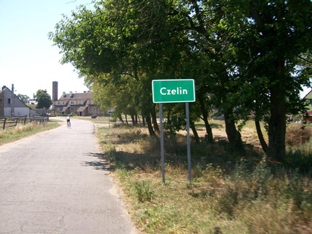Entering Czelin (Poland).