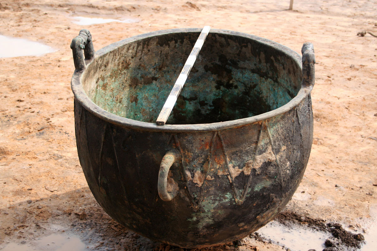 Cast bronze cauldron with griffin handles. Mound 1 at Filippovka 1 kurgan. Image: Leonid Yablonsky