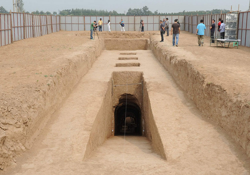 Monumental tomb emerging from the ground at Xianyang.