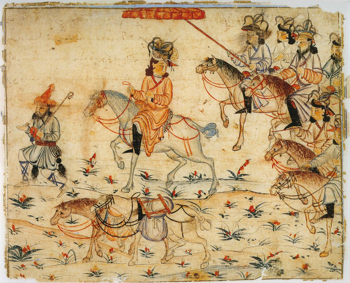 Ruler on his way through the country. Illustration of Rashid-ad-Din's Gami' at-tawarih. Tabriz (?), 1st quarter of 14th century. Water colours on paper. Staatsbibliothek Berlin. Photo: Wikimedia commons.
