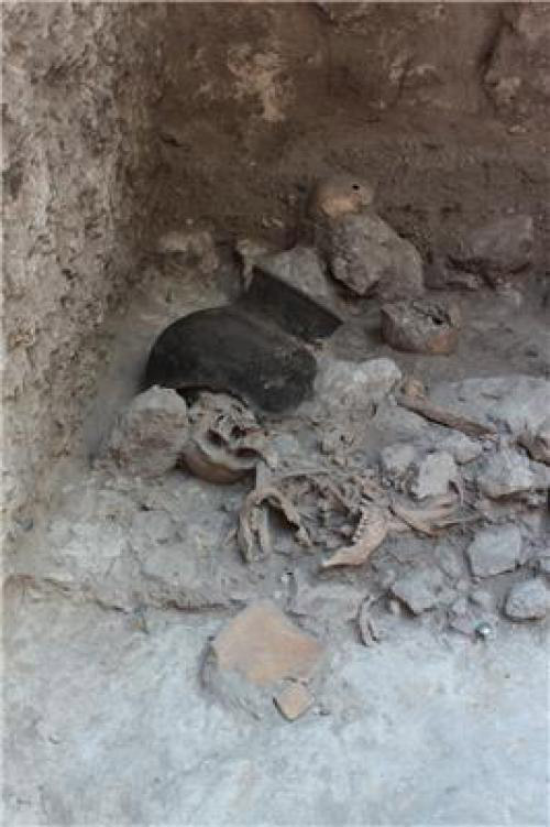 Human remains in situ. Uxul, Mexico. Around AD 600.