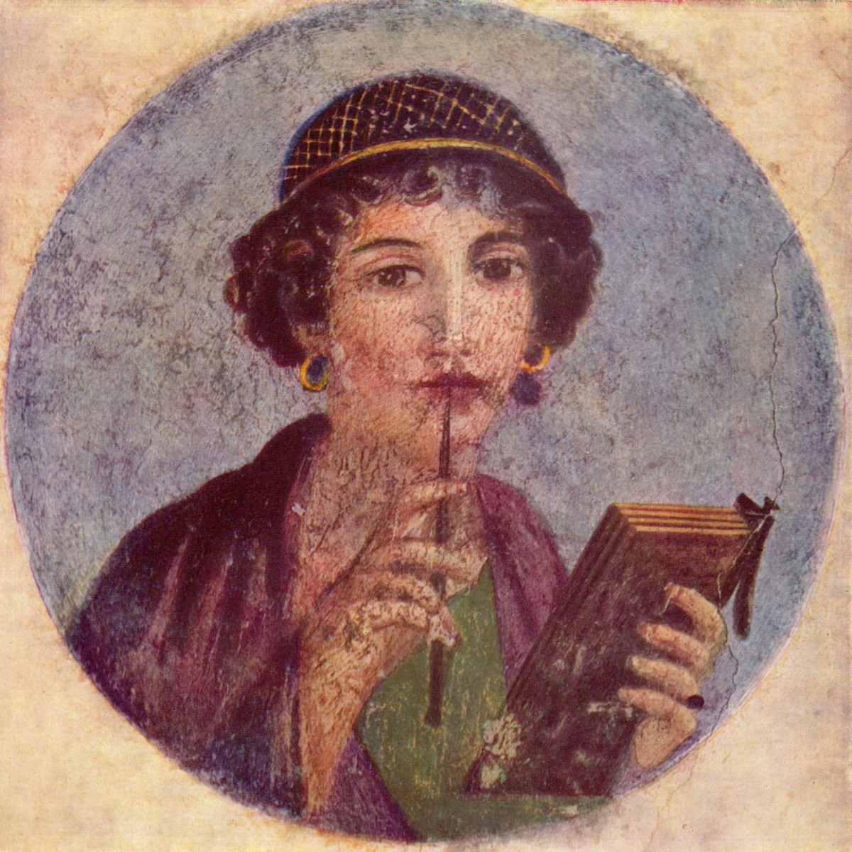 Portrait of a woman holding a pen and a wax tablet , commonly known as Sappho. Pompeii. c. 50 AD.