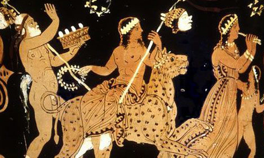 Dionysus with Satyroi on parade. Red-figure vase scene. c. 370 BC. The Louvre.