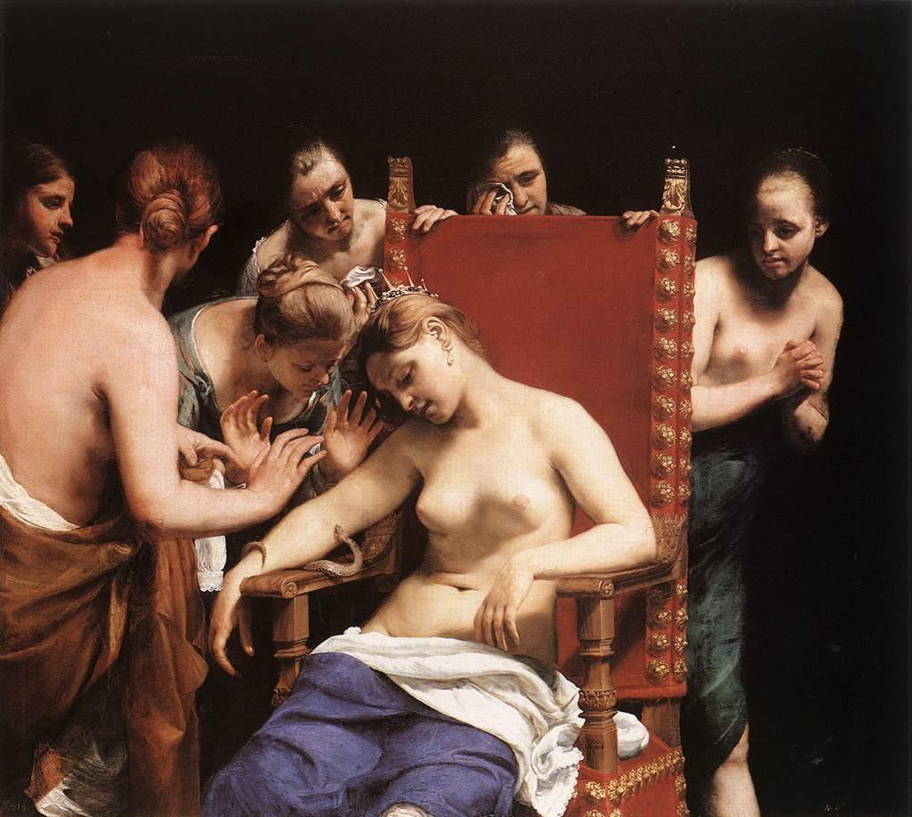 The Death of Cleopatra by Guido Cagnacci, 1658 : Wiki Commons.