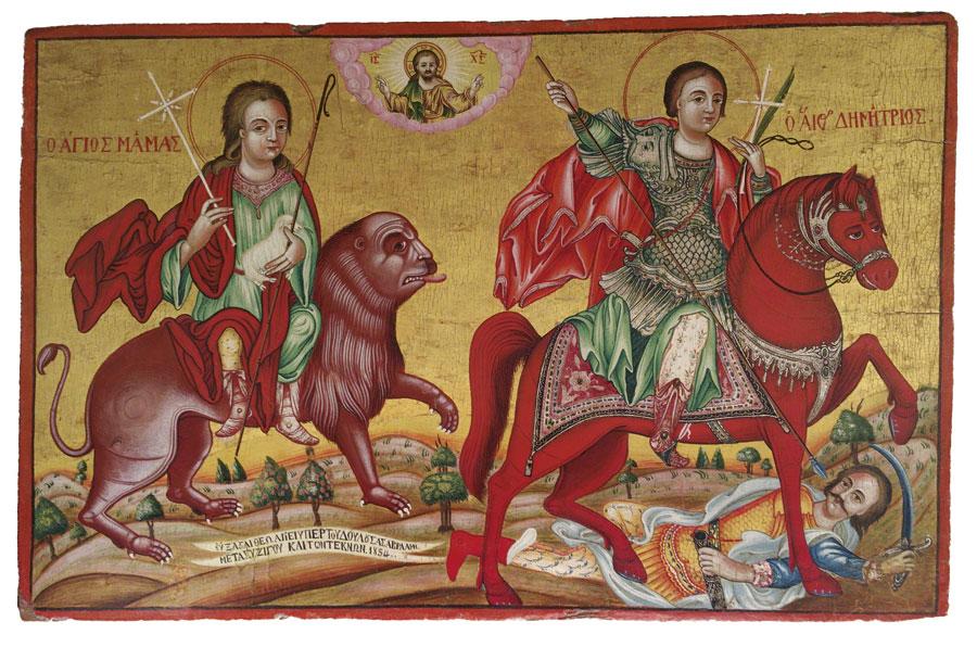 Saints Mamas and Demetrius, 19th c. Church of Saint Barbara, Agia Barbara, Cyprus.