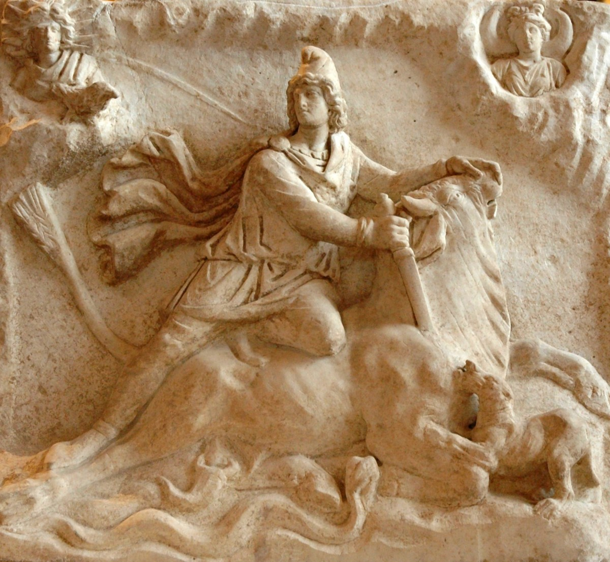 Mithras killing the bull. Relief at the Louvre, 2nd-3rd century AD.