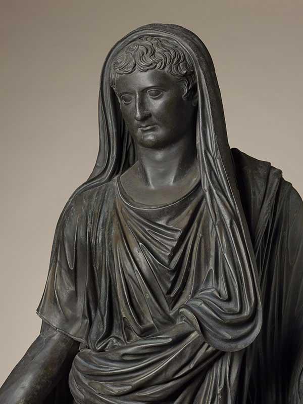 Statue of Tiberius, Roman, AD 37, bronze, 96 7/8 in. high. Soprintendenza Speciale per i Beni Archeologici di Napoli e Pompei, Museo Archeologico Nazionale di Napoli, Laboratorio di Conservazione e Restauro.