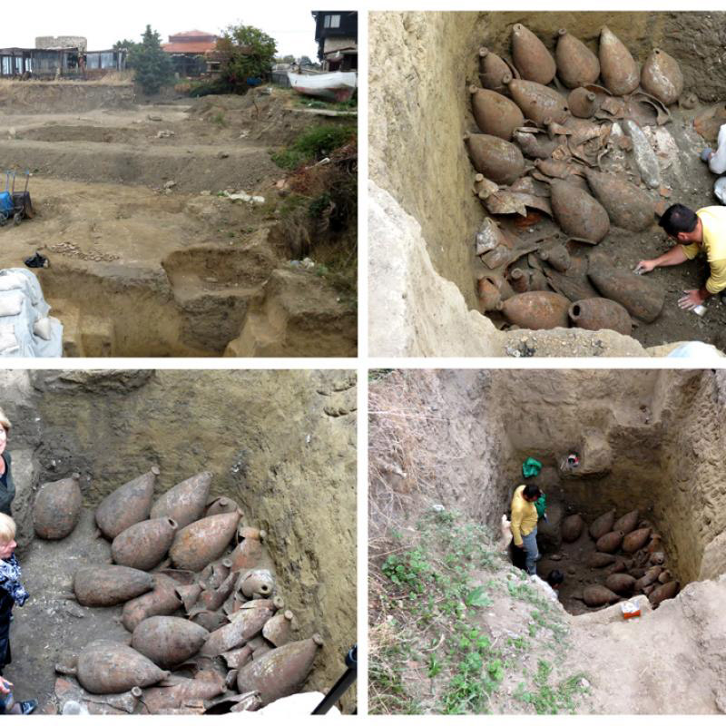Four images from the finds indicating an ancient wine cellar in Nesebar, Bulgaria. Photo: Prefecture of Nesebar.