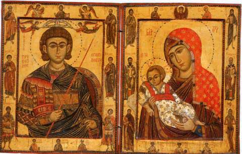 Diptych of St. Procopios and the Virgin Kykkotissa. Crusader Icon. 1280 AD.