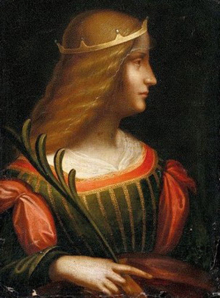 Portrait of Isabella d' Este, possibly painted by Leonardo Da Vinci.