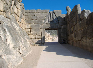 The Lion Gate at Mycenae, symbol of the Mycenaean civilization, thought to have collapsed around  3,200 years ago.