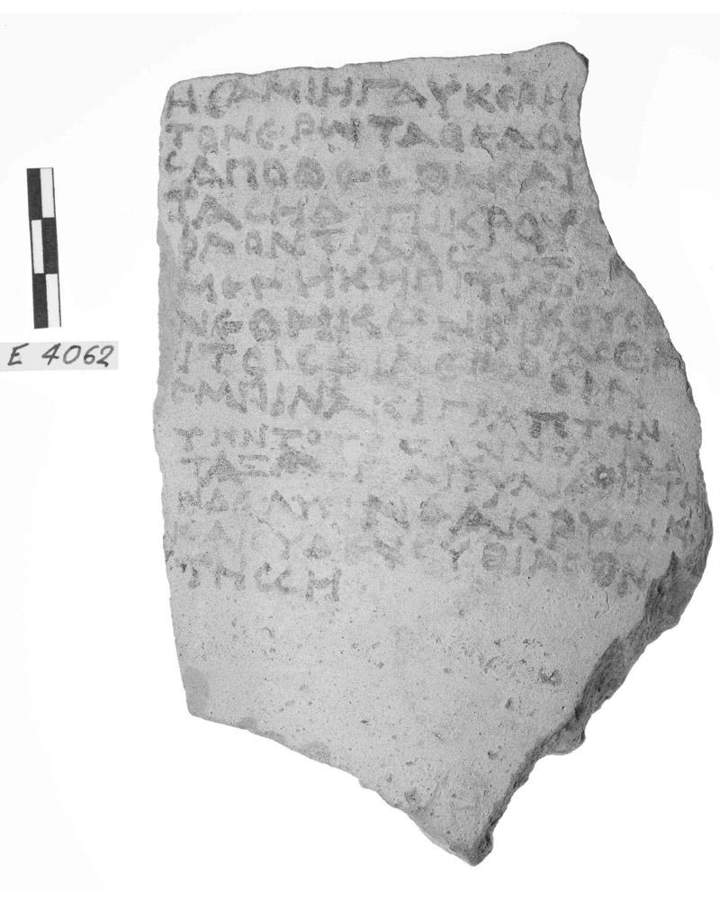 Ostrakon from Rhodes inscribed with an epigram. Photo:A. Dreliosi-Irakleidou, N.Litinas.