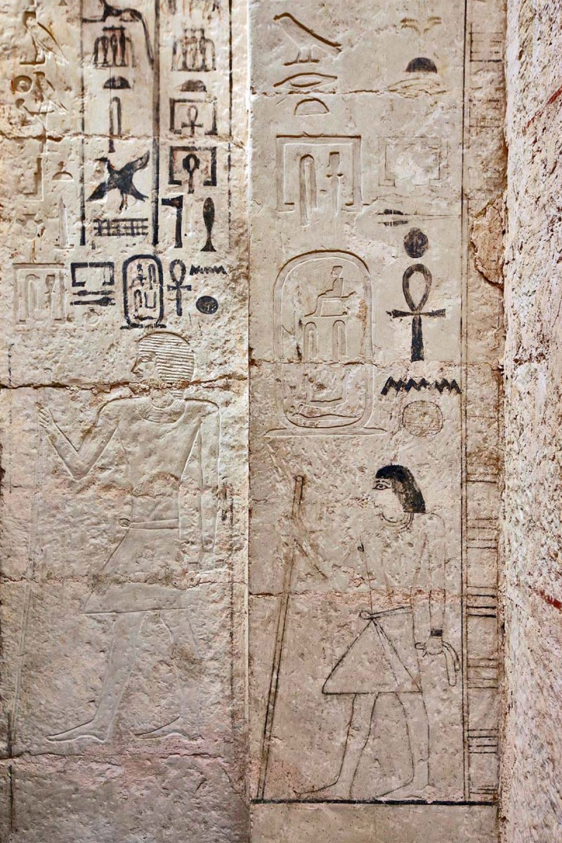 Door jamb, detail of false door, with the depiction, the name and titles of Shepseskaf 'ankh. Photo: CAM/SCA.