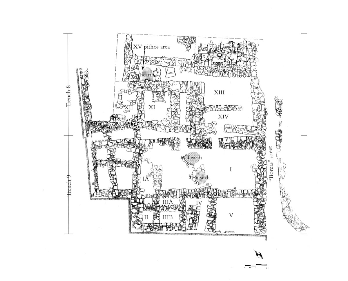"Fig. 23. Ground plan of the ""Minoanising"" sector of the settlement (Trenches 8 and 9)."
