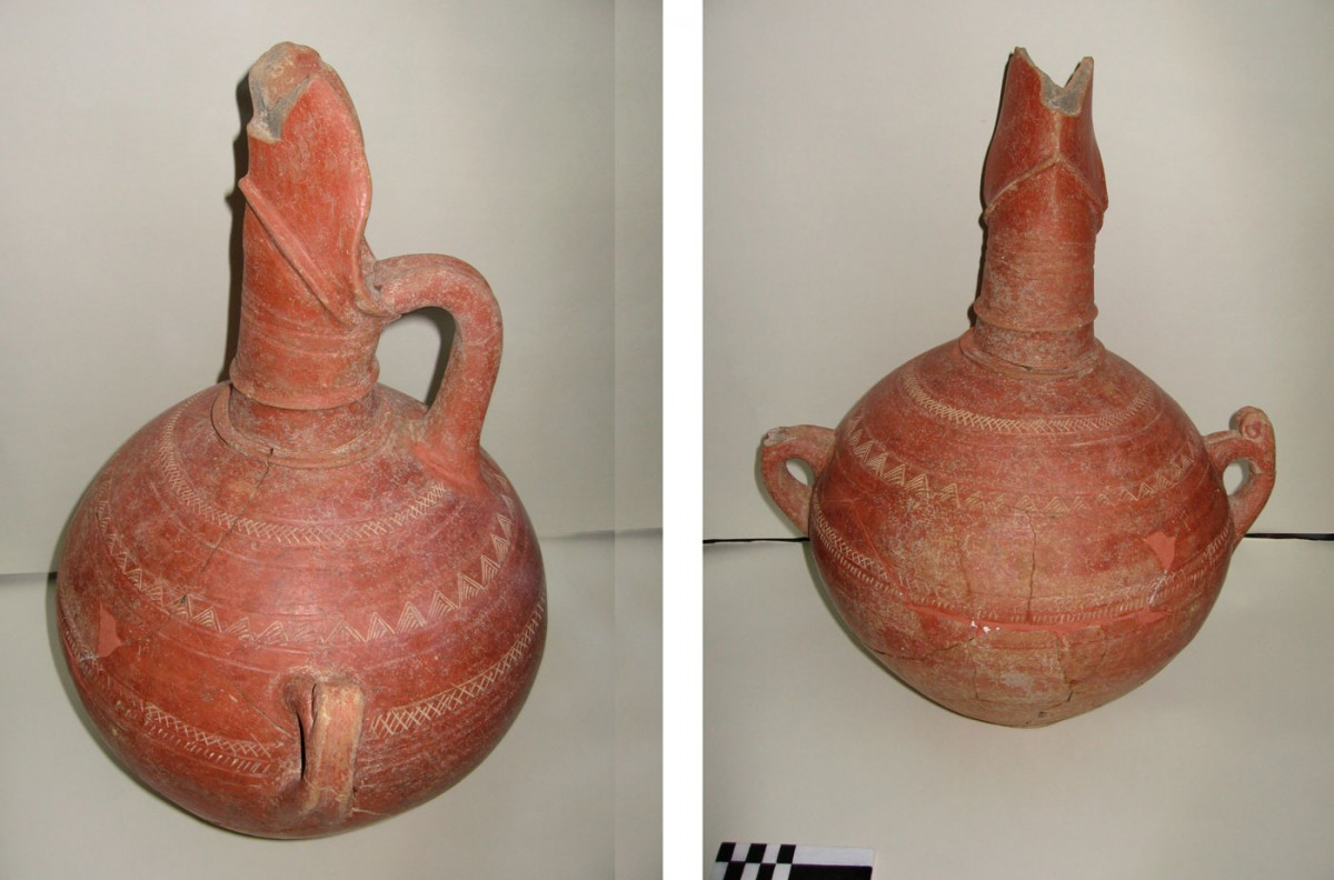 Fig. 31. Middle Bronze Age hydria with added red slip (erythrepichristi) decorated with incision and relief motifs (Trench 3).