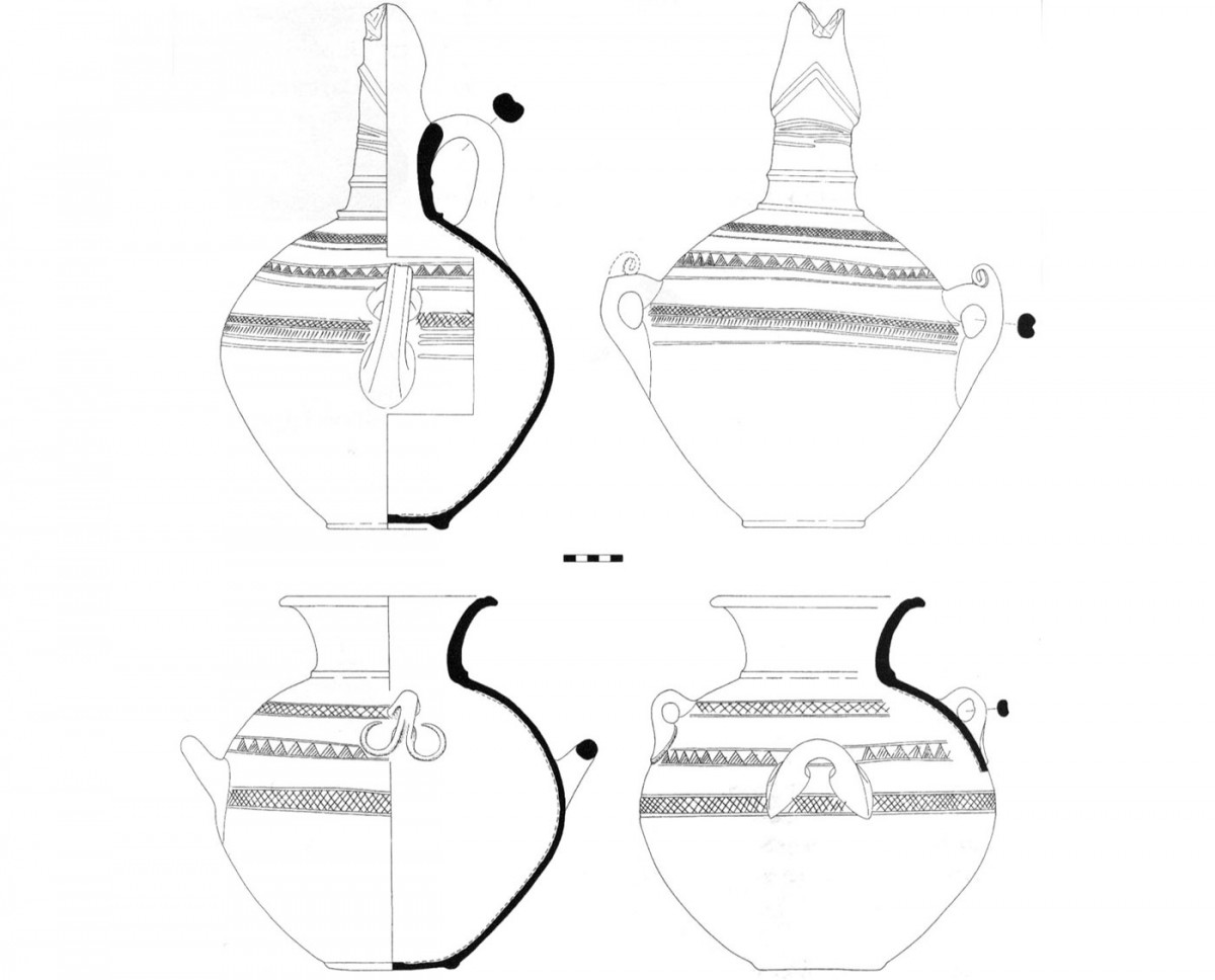 Fig. 32. Drawing of Middle Bronze Age pots with added red slip (erythrepichrista) decorated with incisions (Trench 3).