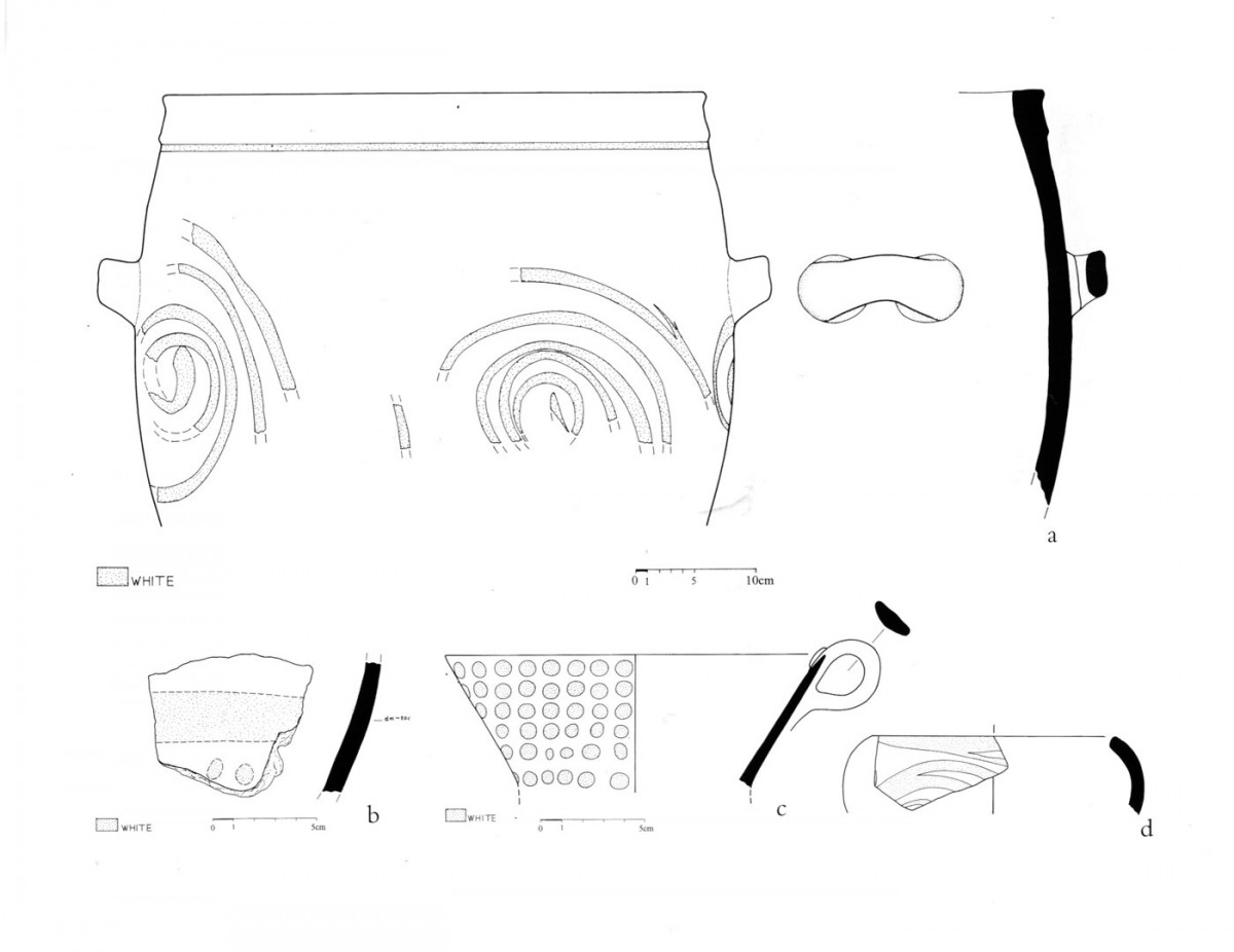 Fig. 42. Painted Minoan pottery decorated with white pigment (Trench 9).