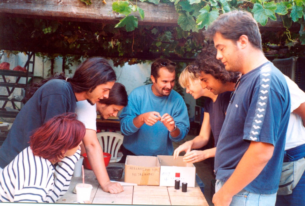 Fig. 51. The excavation team conducting conservation of pottery at the Archaeological Museum of Myrina.
