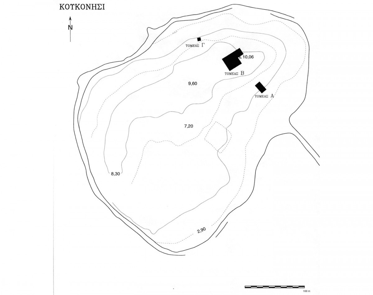 Fig. 6. Topographic mapping of Koukonisi. The black surfaces indicate the excavation areas.