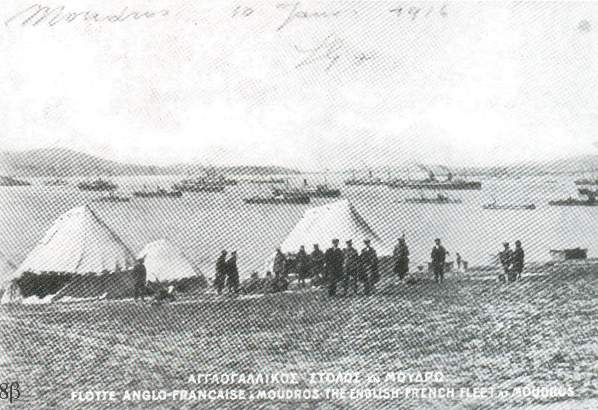 Fig. 9. The Allied British and French forces at the Gulf of Moudros during the First World War. The Allies encamp on the islet.